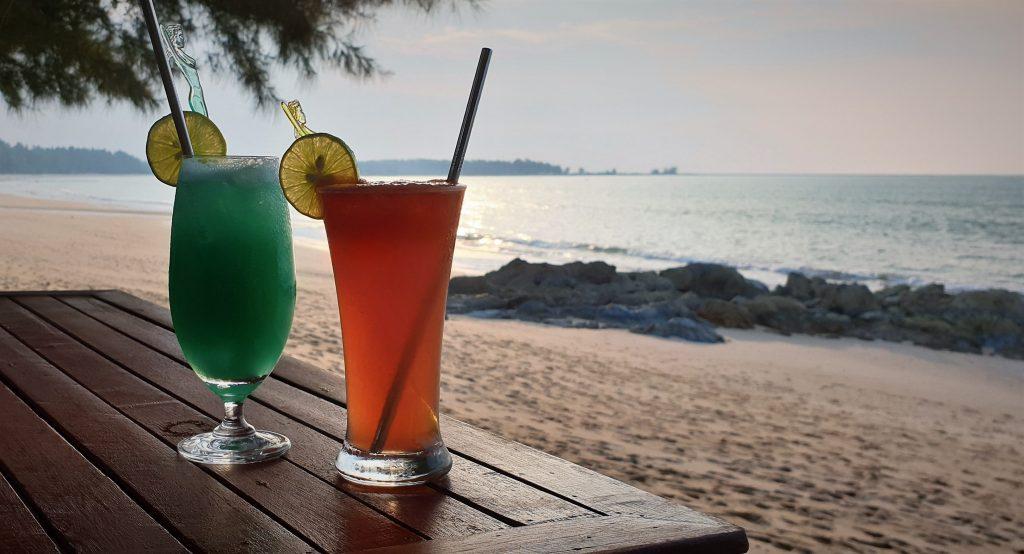 Cocktails on beach near Robinson Club Khao Lak